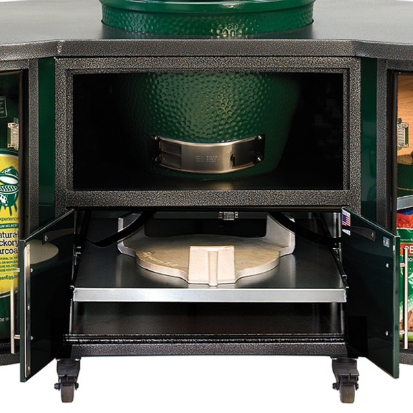 Big Green Egg Cooking Island large full table open view