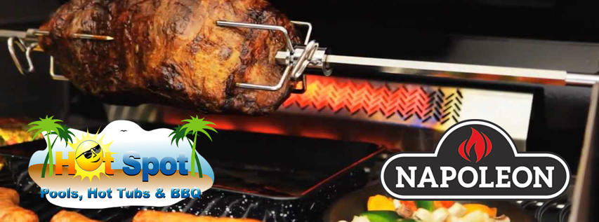 Napoleon Grills with Rotisserie Unit at Hot Spot Pools, Hot Tubs & BBQ